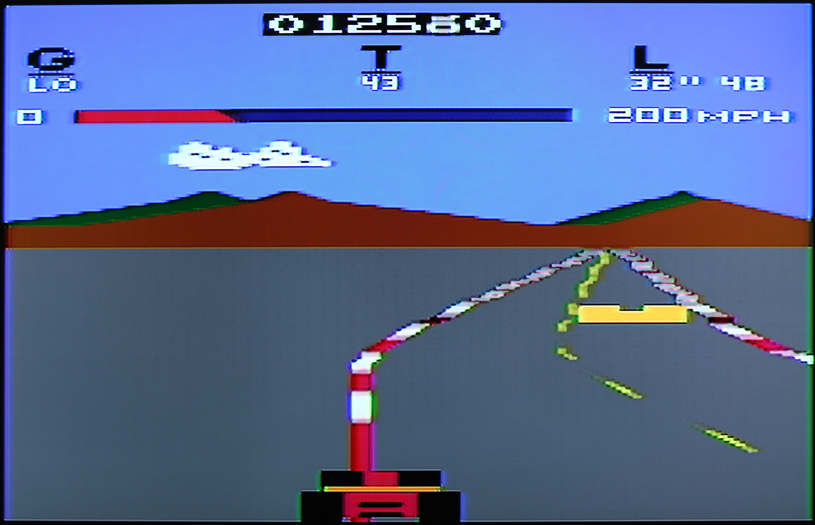Pole Position on atari 2600 composite output after installing video mod board